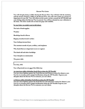 Korean War Letter Activity (Creative Writing)