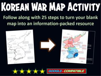 Korean War Map Activity - fun, easy, engaging, follow-alon