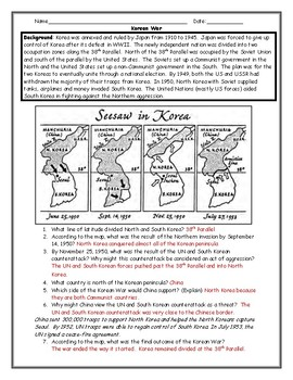 Korean War Map Activity with Answer Key