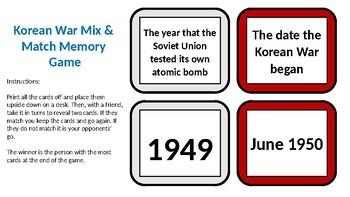 Korean War Mix & Match Memory Game