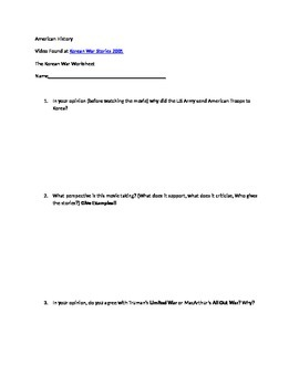 The Korean War Worksheet - Znak - Kara Link The Korean War Chapter ...