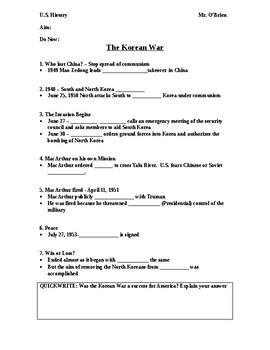 Korean War Powerpoint Worksheet