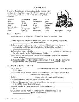 Korean War, RECENT WORLD HIST LESSON 6/45, Activity+Quiz