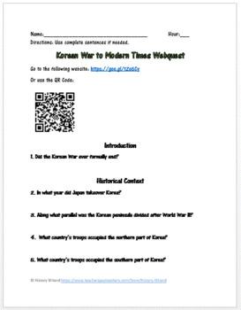 Korean War To Modern Times Webquest (Great Website!)