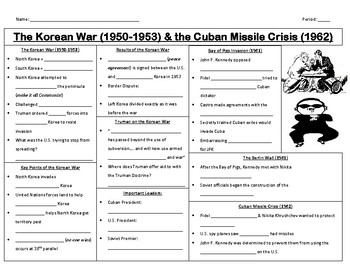 Korean War and Cuban Missile Crisis Guided Notes