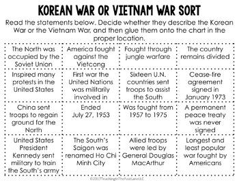 Korean War or Vietnam War Sort {U.S. History}