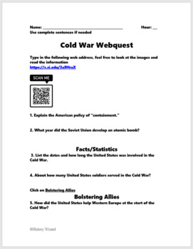 korean war and cold war webquests with teacher answer sheets by history wizard. Black Bedroom Furniture Sets. Home Design Ideas