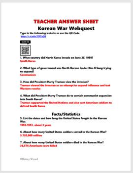 Korean War and Cold War Webquests with Teacher Answer Sheets
