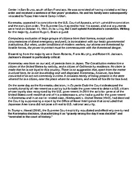 Korematsu v. United States 1944 Article & Assignment