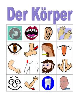 Körper (Body in German) Bingo