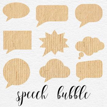 Kraft Bubbles Clipart, 18 Kraft Paper Thought Bubbles {Pretty Graphics}