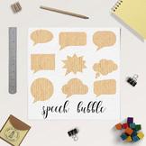Kraft Bubbles Clipart, 18 Kraft Paper Thought Bubbles