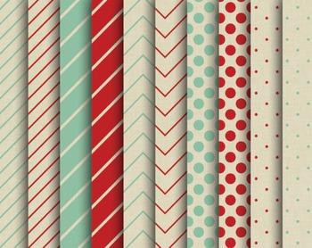 Kraft Christmas Papers, Digital Papers, Christmas Paper Set #143