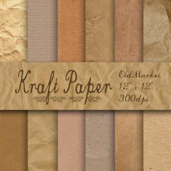 Kraft Digital Paper - Brown Kraft Paper Textures - 8.5x11 and 12x12 Sizes
