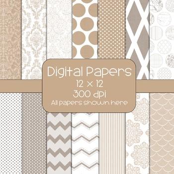 Kraft  Digital Papers - 14 Designs