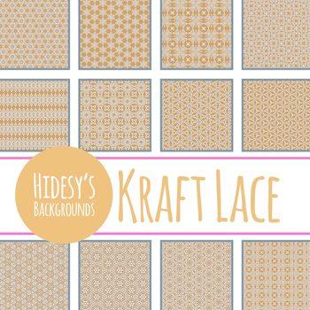 Kraft Lace Digital Paper / Backgrounds Clip Art Set Commercial Use