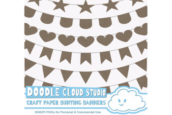 Kraft Paper Bunting Banners Cliparts, wrapping paper texture flags
