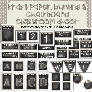 Kraft Paper, Bunting and Chalkboard Labels/Decor - tan and creams