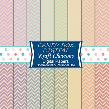 Rainbow Kraft Paper Chevrons Digital Background Papers