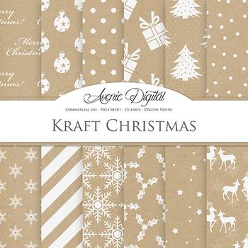 Kraft Paper Christmas Digital Paper patterns background snow, tree, reindeer