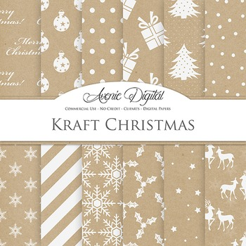 Kraft Paper Christmas Digital Paper patterns background sn