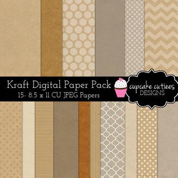 Kraft Paper  - Craft Rustic Digital Paper Pack  8.5 x 11JPEG
