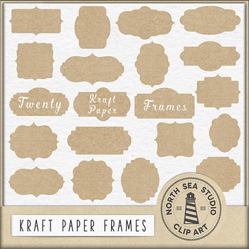 Kraft Paper Frames, Printable Labels Clipart {Pretty Graphics}