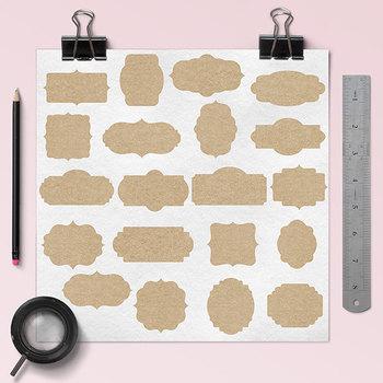 Kraft Paper Frames, Printable Labels Clipart
