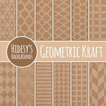 Kraft Paper Geometric Designs / Digital Papers Clip Art Commercial Use