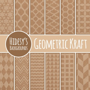 Kraft Paper Geometric Designs / Digital Papers Clip Art Commercial Use
