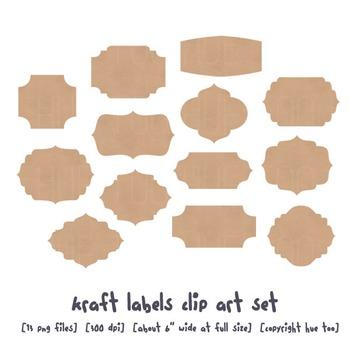 Kraft Paper Labels Clip Art, Brown Paper Digital Frames, for TpT Sellers