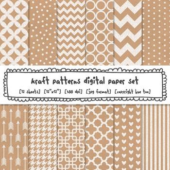 Kraft Paper Patterns Digital Paper Set, Digital Kraft Brown Paper Backgrounds