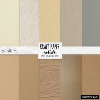 Kraft Paper Solid Digital Paper, Beige, Tan, Grey, Neutral Cardboard Background