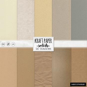 Kraft Paper Solid Digital Paper, Beige, Tan, Grey, Cardboa