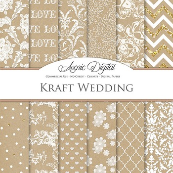 Kraft Paper Wedding Digital Paper patterns - white save the date backgrounds