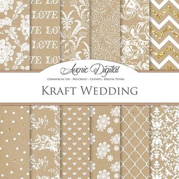 Kraft Paper Wedding Digital Paper patterns - white save th