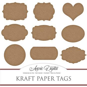 Kraft Paper tags clip art Scrapbook printable vintage brown frame labels clipart