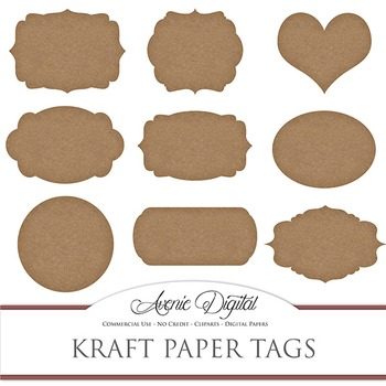 graphic about Printable Kraft Tags called Kraft Paper tags clip artwork Sbook printable typical brown body labels clipart