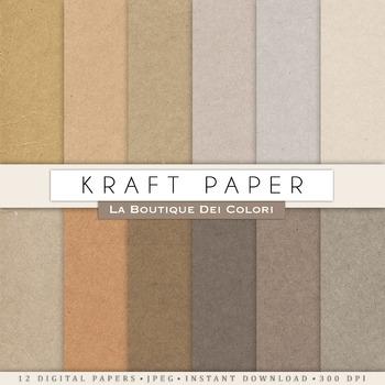 Kraft Textures Digital Paper, scrapbook backgrounds