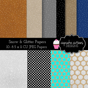 Kraft and Snow and Sparkle Paper - Craft Rustic Digital Paper Pack  8.5 x 11JPEG
