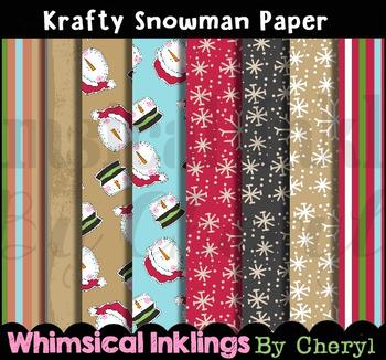 Krafty Snowman Digital Paper