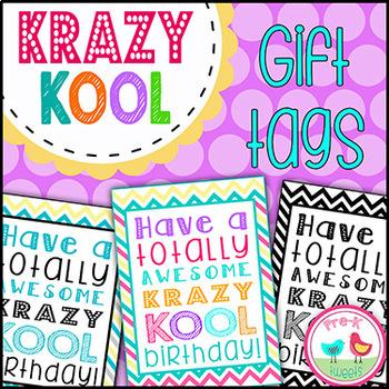 Krazy Kool Chevron Birthday Gift Tags