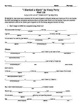 photograph about Printable Mad Libs for Teens titled Outrageous Libs Grammar Overview Worksheets Schooling Components TpT