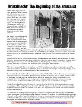Kristallnacht Common Core Reading Worksheet for the Holocaust