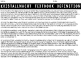 Kristallnacht (World War II/Holocaust) Primary Source Activity