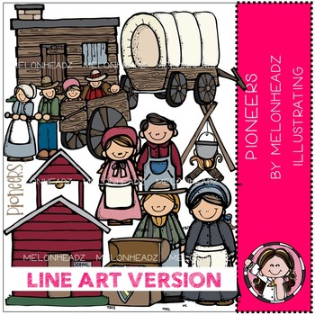 Kristen's pioneers by Melonheadz LINE ART