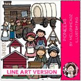 Pioneers clip art - LINE ART- by Melonheadz