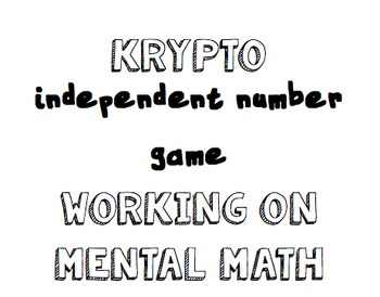 Krypto- Independent math game/center working on mental math