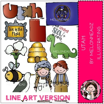 Utah clip art - LINE ART- by Melonheadz
