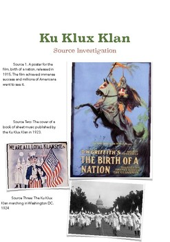 Ku Klux Klan Primary Source Investigation Exercise